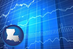 louisiana map icon and a financial chart