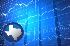 texas map icon and a financial chart