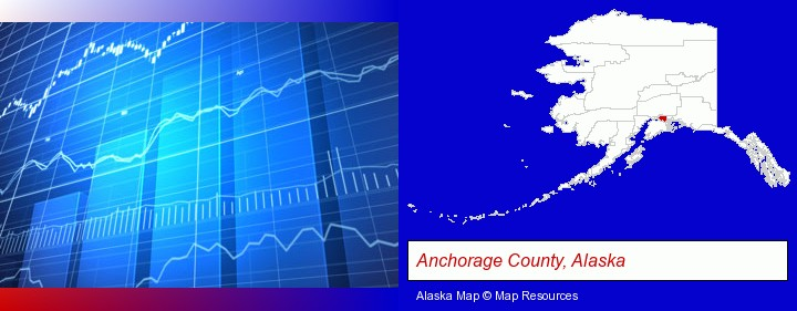 a financial chart; Anchorage County, Alaska highlighted in red on a map