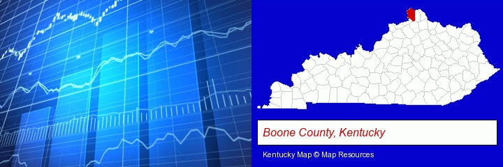 a financial chart; Boone County, Kentucky highlighted in red on a map