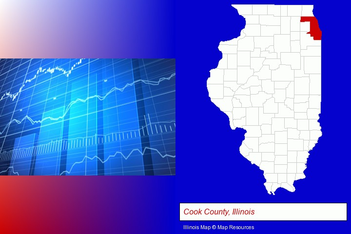 a financial chart; Cook County, Illinois highlighted in red on a map