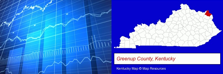 a financial chart; Greenup County, Kentucky highlighted in red on a map