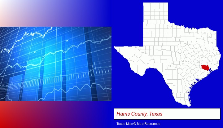 a financial chart; Harris County, Texas highlighted in red on a map