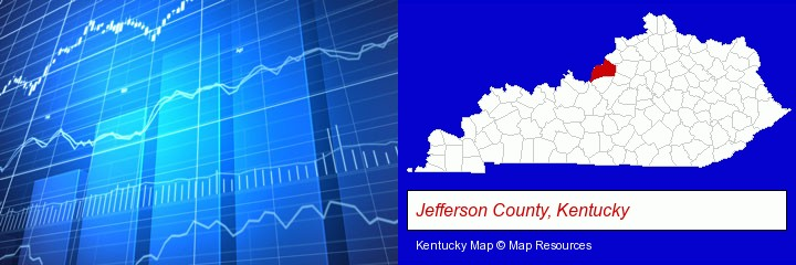 a financial chart; Jefferson County, Kentucky highlighted in red on a map