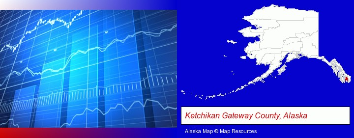 a financial chart; Ketchikan Gateway County, Alaska highlighted in red on a map