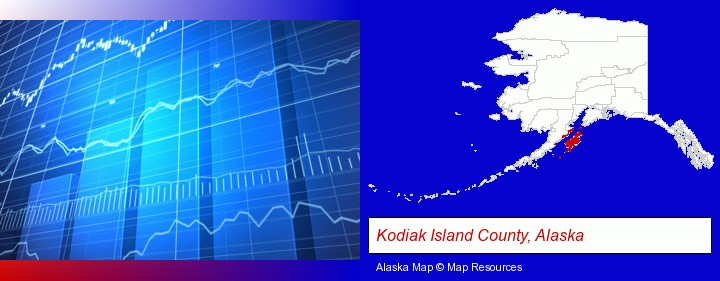 a financial chart; Kodiak Island County, Alaska highlighted in red on a map