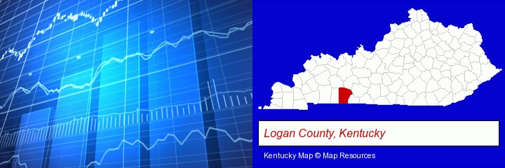 a financial chart; Logan County, Kentucky highlighted in red on a map