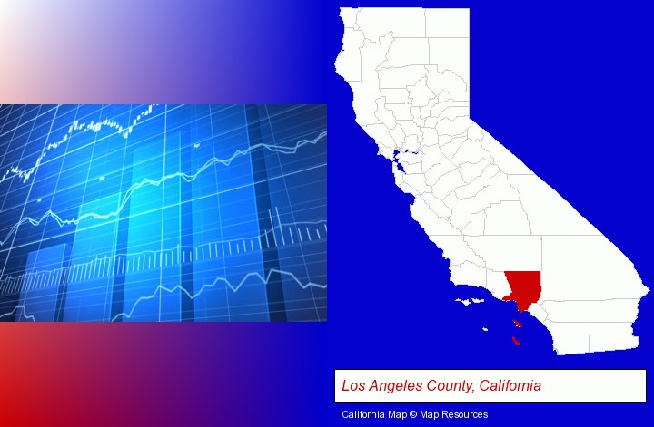 a financial chart; Los Angeles County, California highlighted in red on a map