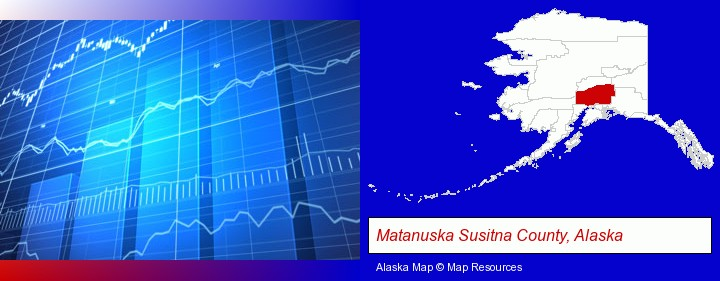a financial chart; Matanuska Susitna County, Alaska highlighted in red on a map