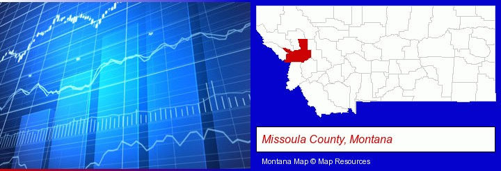 a financial chart; Missoula County, Montana highlighted in red on a map