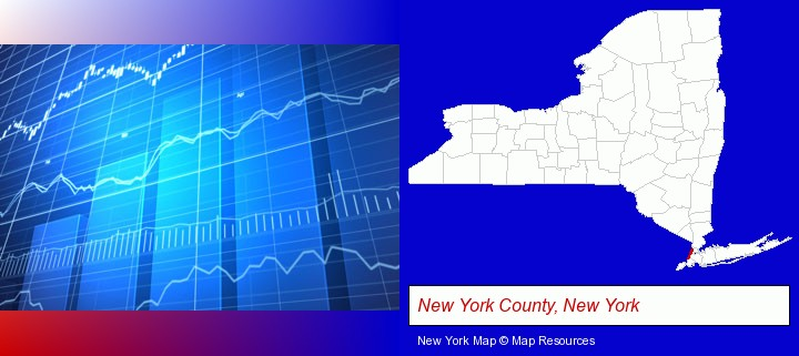 a financial chart; New York County, New York highlighted in red on a map