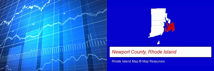 a financial chart; Newport County, Rhode Island highlighted in red on a map