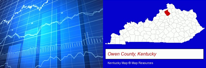 a financial chart; Owen County, Kentucky highlighted in red on a map