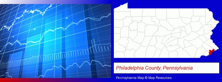 a financial chart; Philadelphia County, Pennsylvania highlighted in red on a map