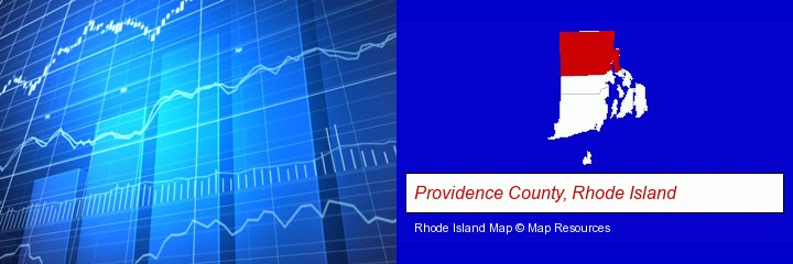 a financial chart; Providence County, Rhode Island highlighted in red on a map