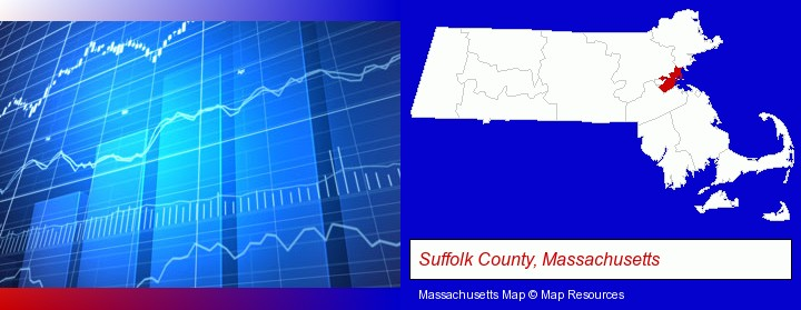 a financial chart; Suffolk County, Massachusetts highlighted in red on a map