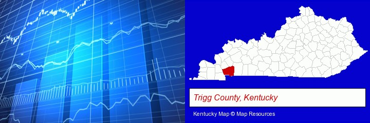 a financial chart; Trigg County, Kentucky highlighted in red on a map